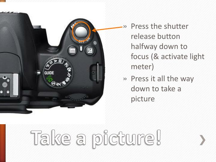Press the shutter release button halfway down to focus (& activate light meter)