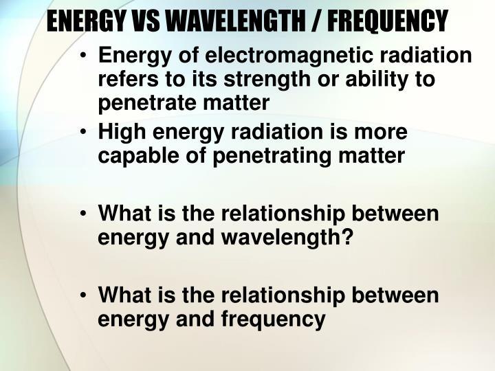 ENERGY VS WAVELENGTH / FREQUENCY