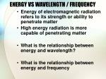 energy vs wavelength frequency