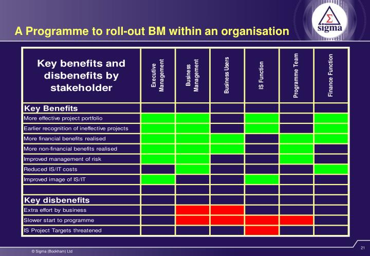 A Programme to roll-out BM within an organisation