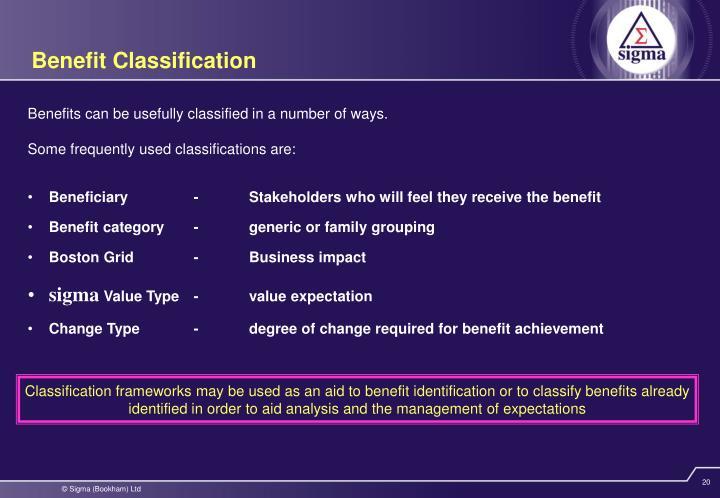 Benefit Classification