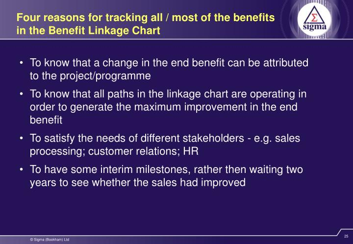 Four reasons for tracking all / most of the benefits in the Benefit Linkage Chart