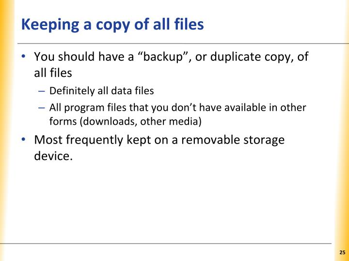 Keeping a copy of all files