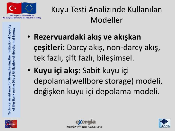 Kuyu Testi Analizinde Kullanılan Modeller
