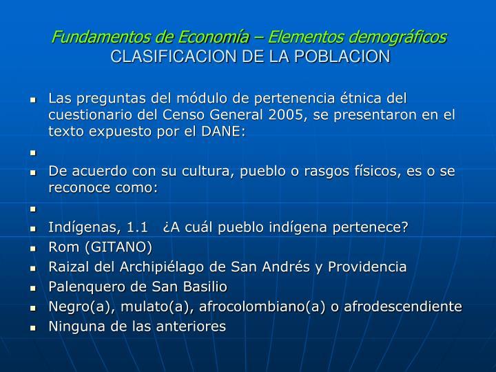 Fundamentos de Economía – Elementos demográficos