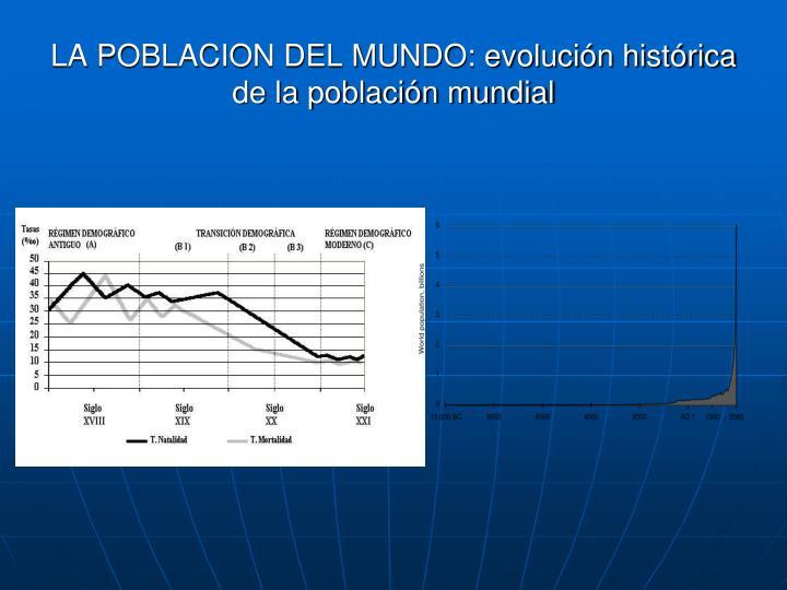 LA POBLACION DEL MUNDO: evolución histórica de la población mundial