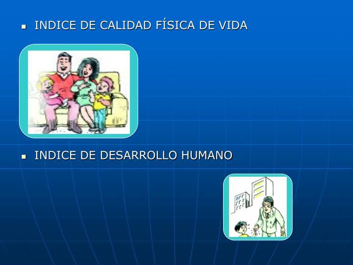 INDICE DE CALIDAD FÍSICA DE VIDA