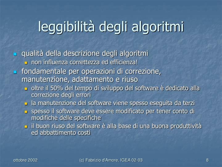 leggibilità degli algoritmi