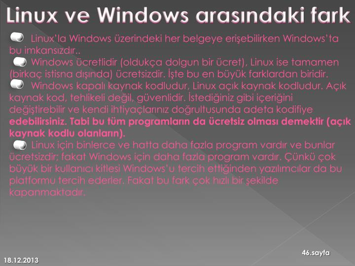 Linux ve Windows arasındaki fark