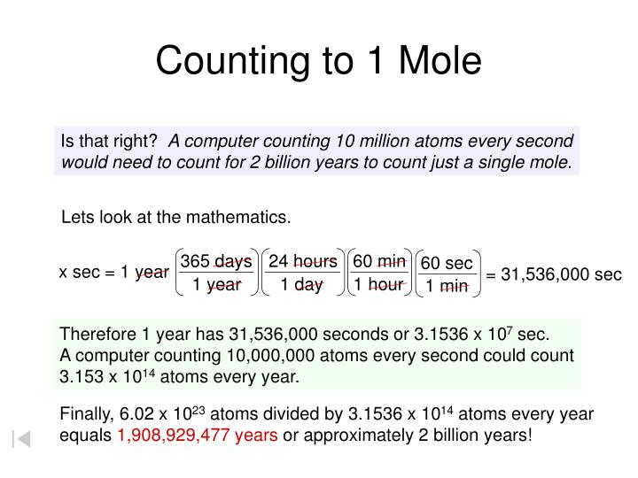 Counting to 1 Mole