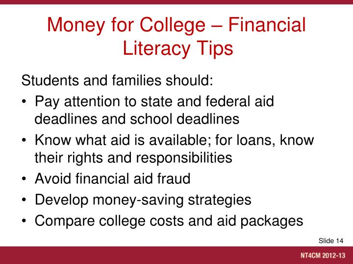 Money for College – Financial Literacy Tips