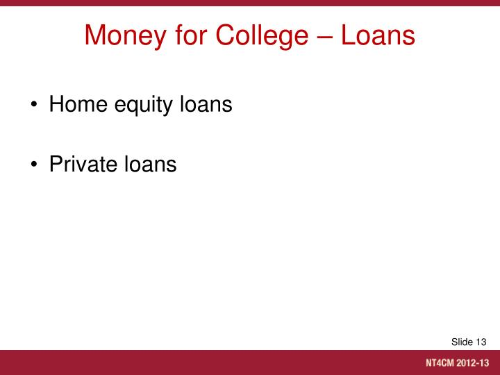 Money for College – Loans