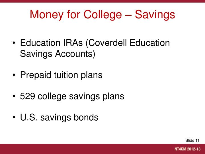 Money for College – Savings