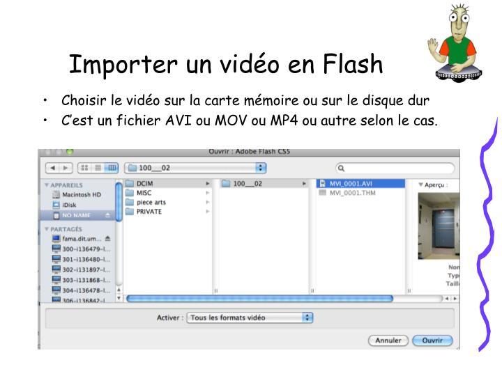Choisir le vidéo sur la carte mémoire ou sur le disque dur