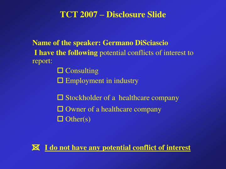 Name of the speaker: Germano DiSciascio