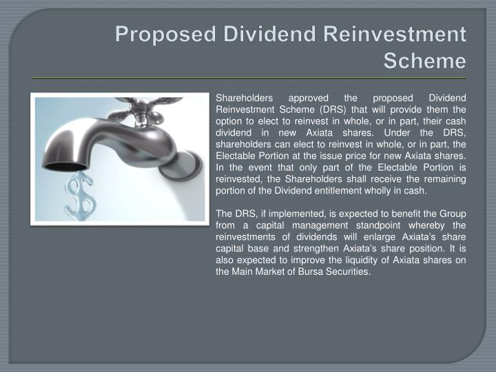 Proposed Dividend Reinvestment
