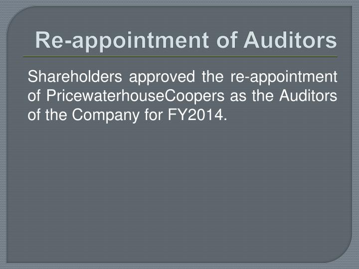 Re-appointment of