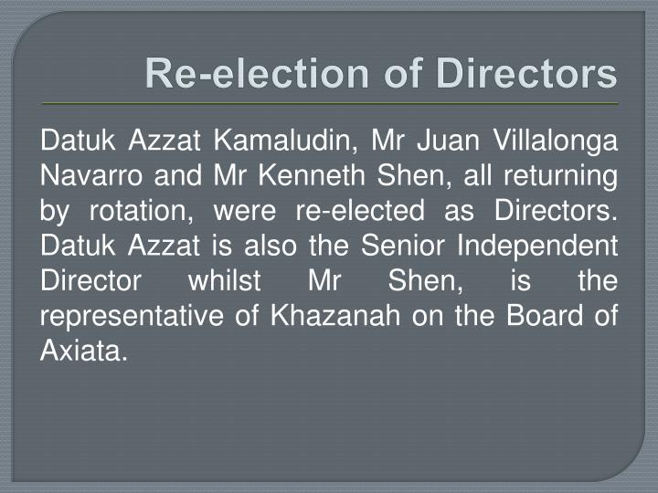 Re-election of Directors