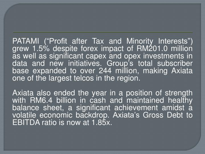 """PATAMI (""""Profit after Tax and Minority Interests"""") grew 1.5% despite"""