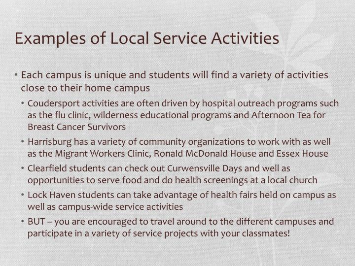 Examples of Local Service Activities
