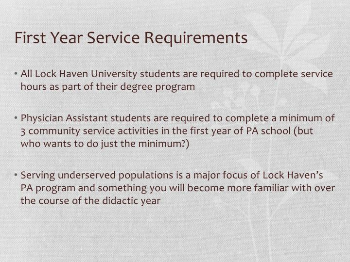 First year service requirements