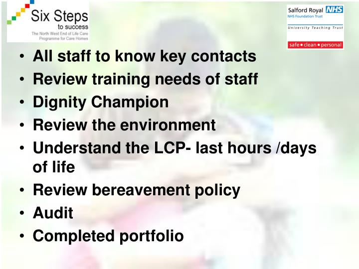 All staff to know key contacts