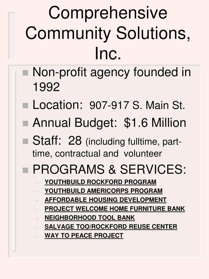 Comprehensive Community Solutions, Inc.