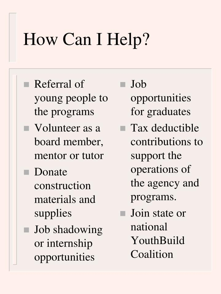 Referral of young people to the programs