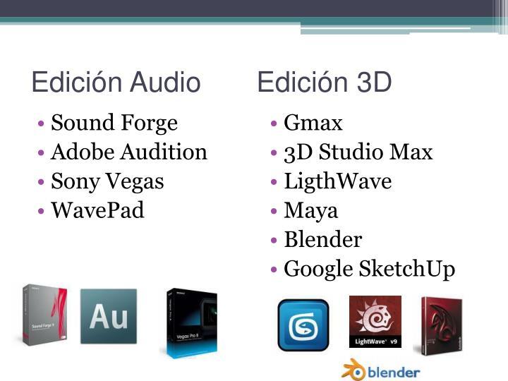 Edición Audio       Edición 3D