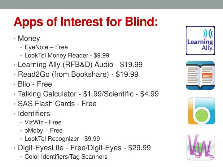 Apps of Interest for Blind: