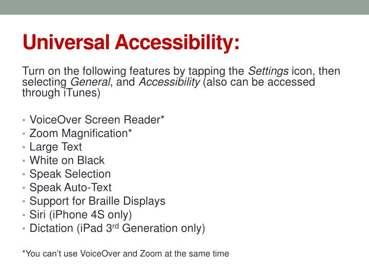 Universal Accessibility:
