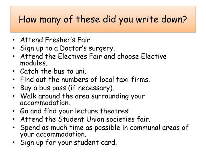 How many of these did you write down?