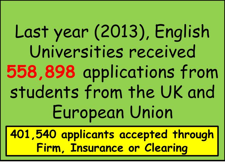 Last year (2013), English Universities received