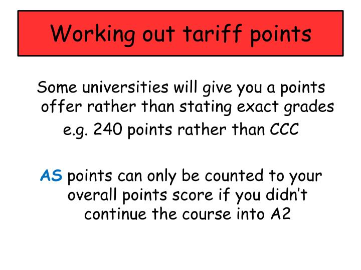 Working out tariff points