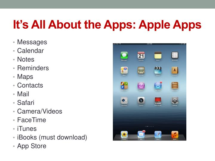 It's All About the Apps: Apple Apps