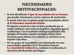 necesidades motivacionales