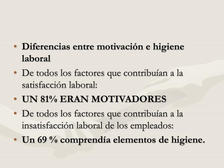 Diferencias entre motivación e higiene laboral