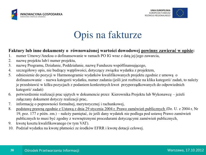 Opis na fakturze