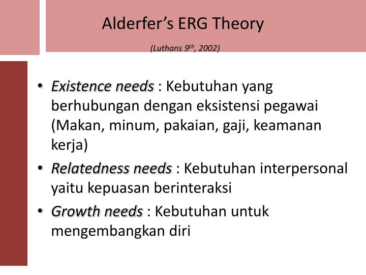Alderfer's ERG Theory