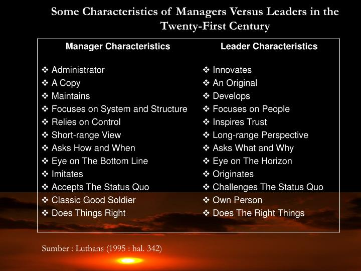 Some Characteristics of Managers Versus Leaders in the Twenty-First Century