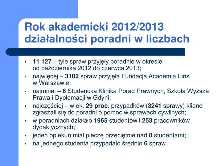 Rok akademicki 2012/2013 działalności poradni w liczbach