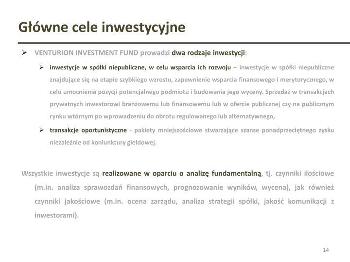 Główne cele inwestycyjne