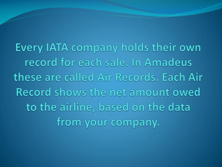 Every IATA company holds their own record for each sale. In Amadeus these are called Air Records. Each Air Record shows the net amount owed to the airline, based on the data from your company.