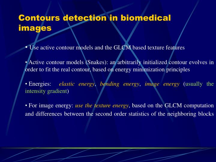 Contours detection in biomedical images