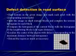 defect detection in road surface