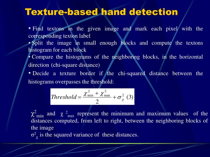 Texture-based hand detection