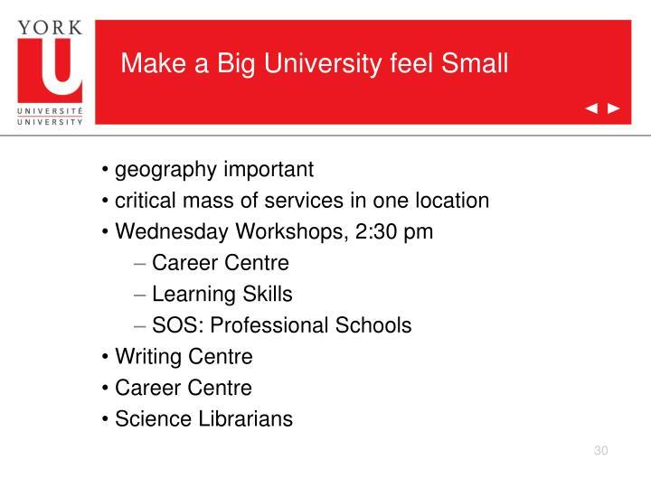 Make a Big University feel Small
