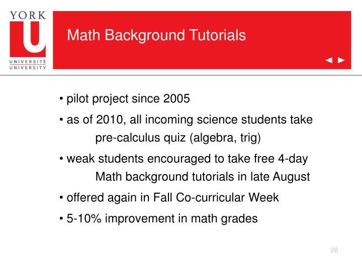 Math Background Tutorials