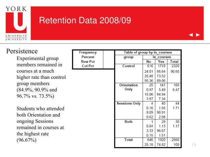 Retention Data 2008/09