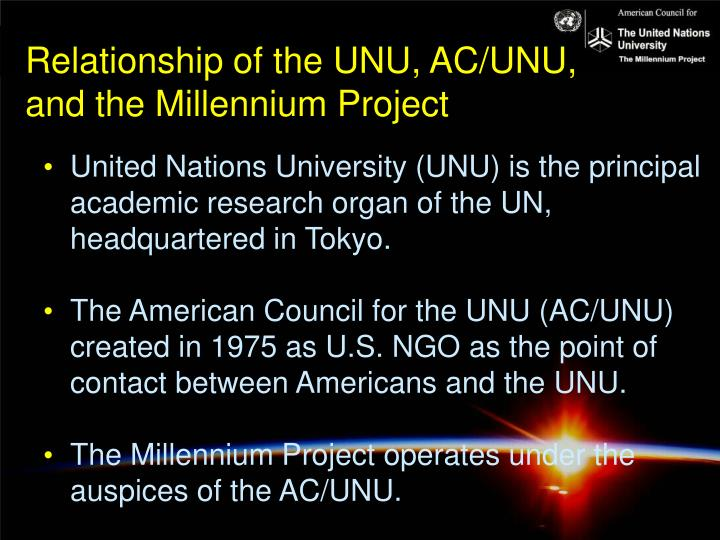 Relationship of the UNU, AC/UNU,